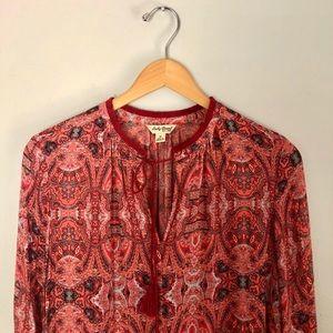Lucky Brand open tie front tassel boho blouse